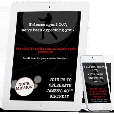 Digital James Bond 007 theme party invitations